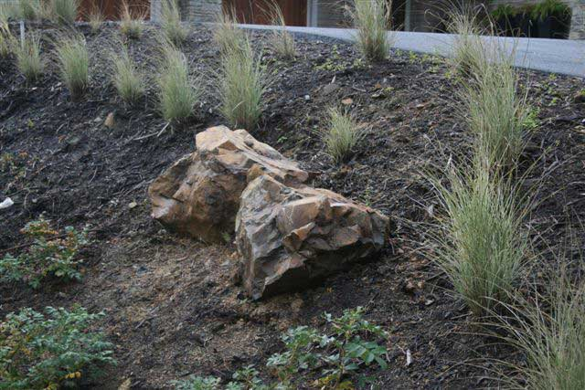 jagged boulders in mulch plant bed