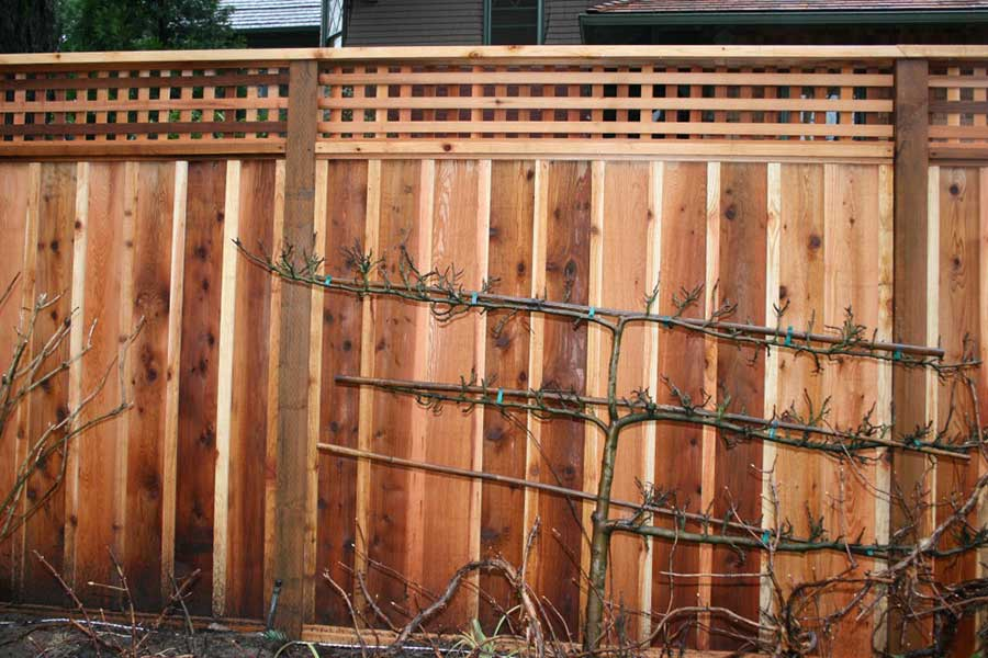 wood fence with multi color natural staining