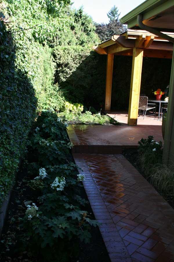 shaded red brick walkway