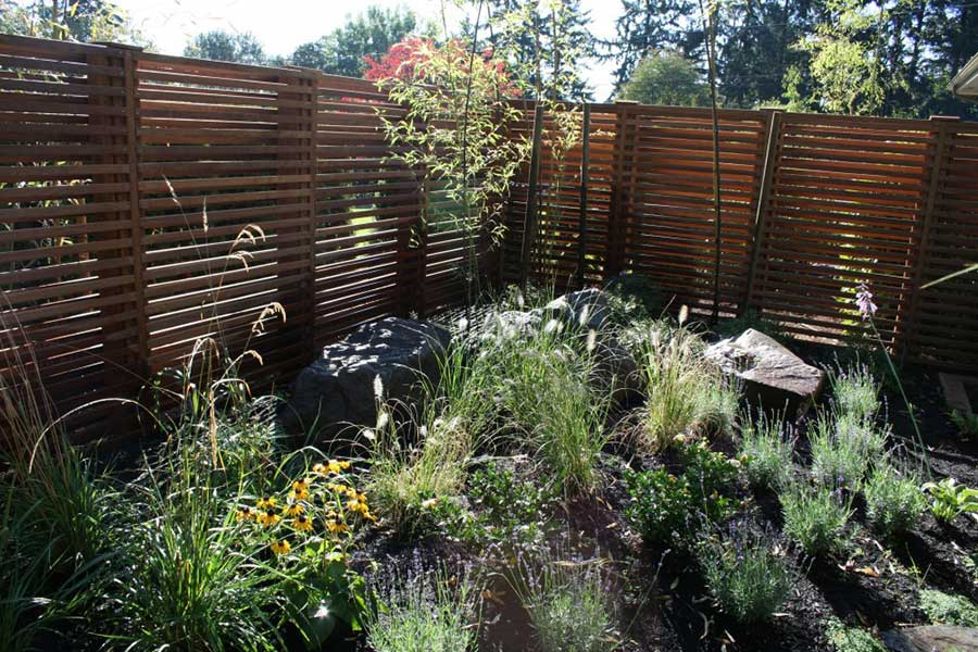 wild plants garden with natural stone path and horizontal slat wooden fence 4