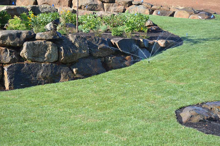 watering sloping turf lawn with terraced plant beds
